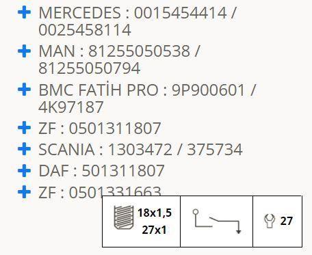 Mercedes Sprinter Man Scania Reverse Light Switch 40420.002 545 8114,0035451614