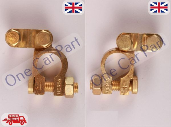 2 X 12v Car Battery Terminals Clamps Connectors Heavy Duty Brass